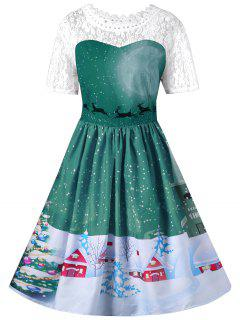 Christmas Lace Yoke Swing Dress - Green M