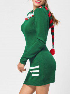 Christmas Drop Pockets Hooded Jumper Dress - Green M