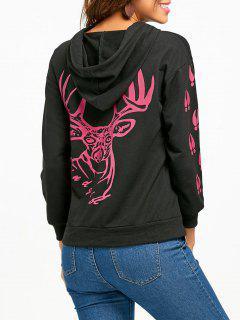 Elk Print Christmas Hoodie - Black 2xl