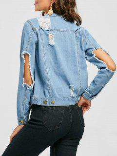 Button Up Distressed Denim Jacket - Denim Blue L