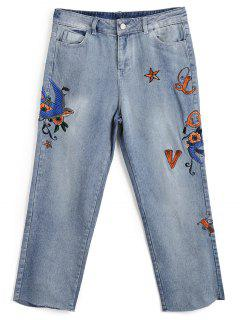 Bleach Wash Embroidered Capri Jeans - Denim Blue M