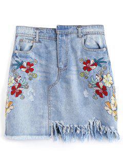 Frayed Embroidered Destroyed Denim Skirt - Denim Blue L