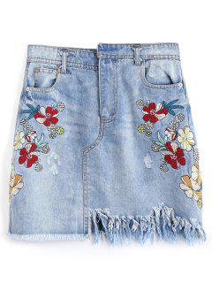 Frayed Embroidered Destroyed Denim Skirt - Denim Blue M