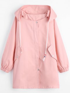 Zippered Drawstring Hooded Coat With Pockets - Pink S