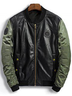 Patch Design PU Panel Bomber Jacket - Green M