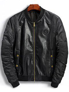 Patch Design PU Panel Bomber Jacket - Black M