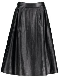 Faux Leather Midi Plus Size Skirt - Black 3xl