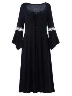 Plus Size Lace Up Bell Sleeve Dress - Black 4xl