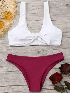 Padded Knotted Bralette Bikini Set - Red And White L