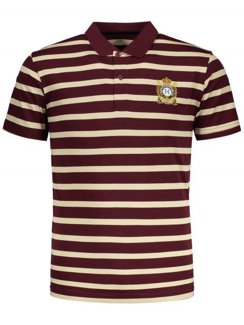 online Contrast Striped Polo T-shirt - RED 2XL Mobile