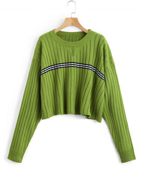 women's Oversized Cropped Stripes Panel Sweater - GREEN ONE SIZE Mobile