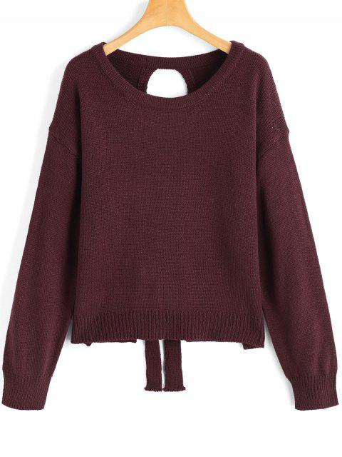 Recortar Lace Up suéter jersey - Vino Rojo Única Talla Mobile