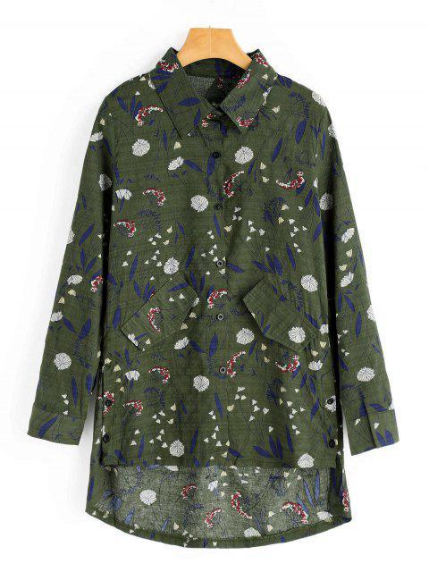 Faux Pockets Floral Print Camisa alta baja - Ejercito Verde M Mobile