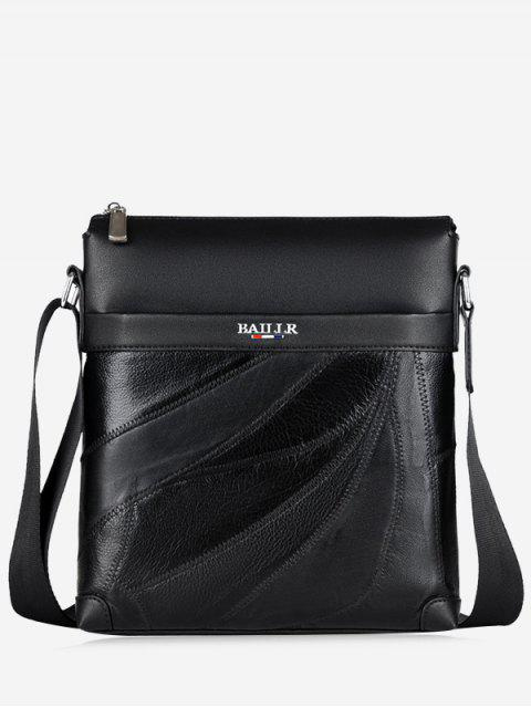 fancy Top Zip Faux Leather Messenger Bag - BLACK  Mobile