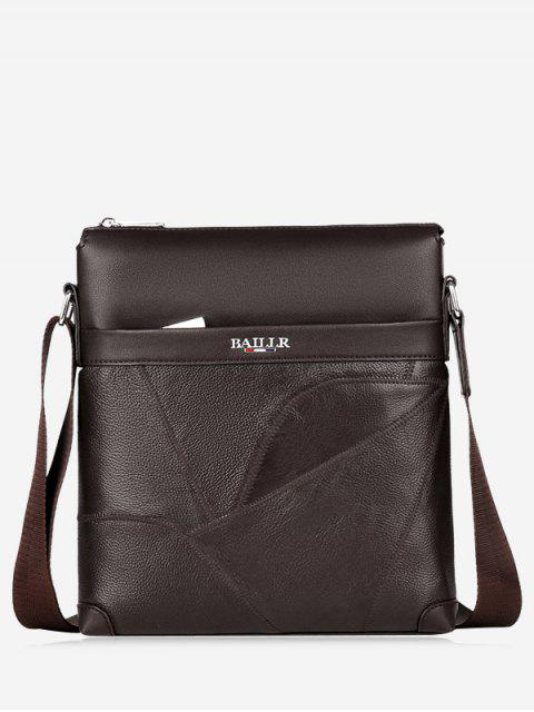 Top Zip Faux Leder Messenger Bag - Dunkelbraun  Mobile