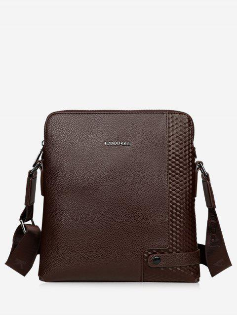 Zip Closure Embossed Messenger Bag - Hellbraun  Mobile