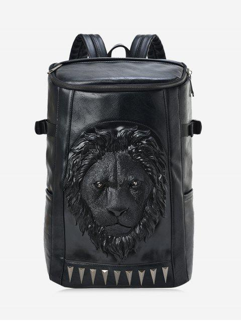 womens Lion Head Faux Leather Backpack - BLACK  Mobile