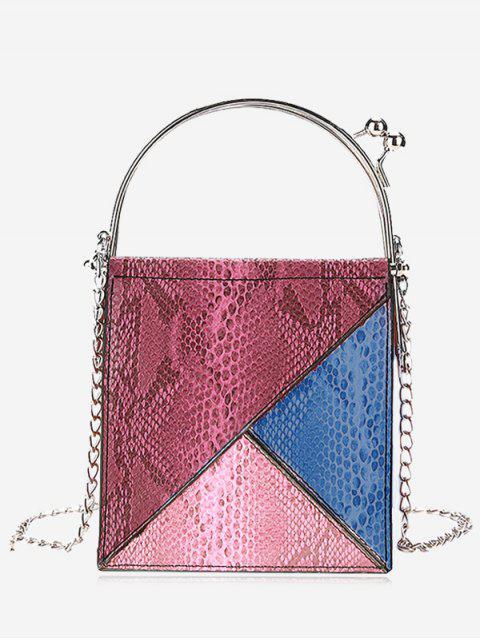 best Geometric Snake Embossed Crossbody Bag - RED  Mobile