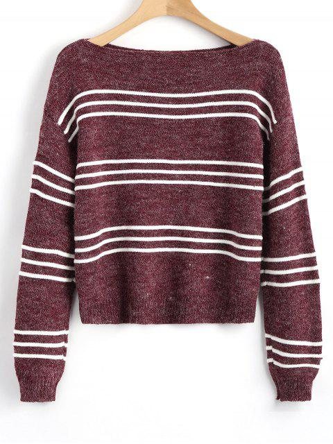 Suéter de manga larga rayas jersey - Vino Rojo Única Talla Mobile