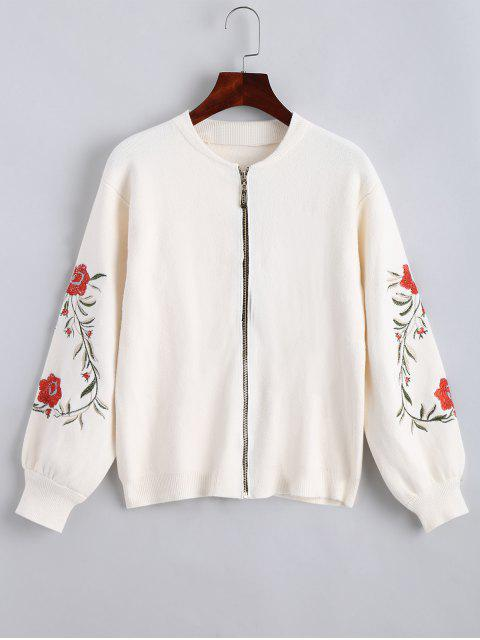 Floral Embroidered Zip Up Cardigan - Blanco Única Talla Mobile