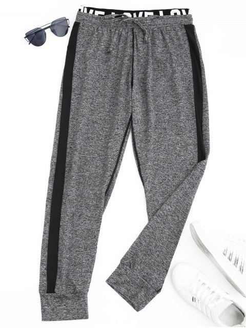 women Sports Heathered Letter Jogger Pants - GRAY L Mobile