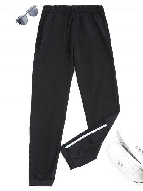 best Drawstring Taper Sports Pants - BLACK L Mobile