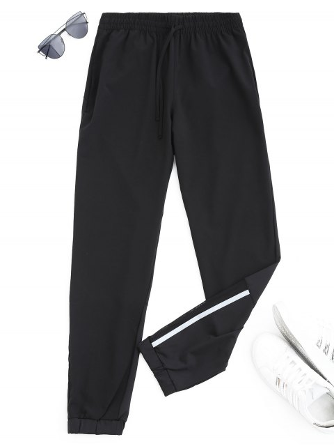 online Drawstring Taper Sports Pants - BLACK M Mobile