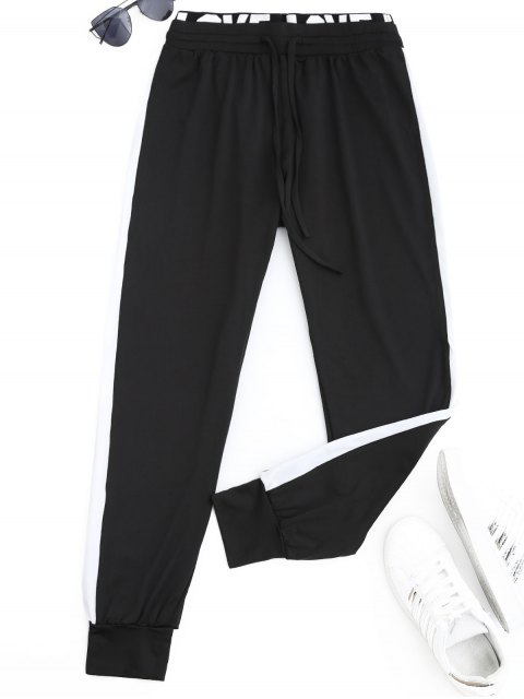 Sports Two Tone Letter Jogger Pants - Noir S Mobile