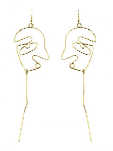 women's Face Shape Bar Pendant Earrings - GOLDEN  Mobile