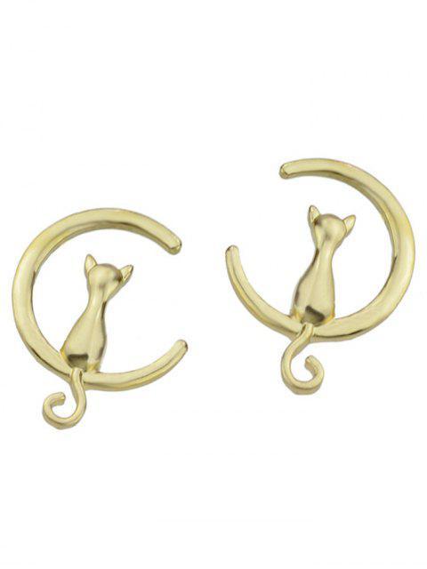 best Cat Moon Shape Stud Earrings - GOLDEN  Mobile