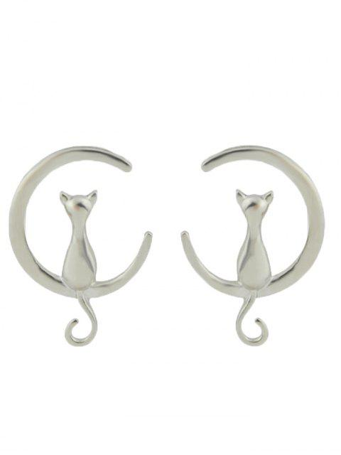 Boucles d'oreilles en forme de chat Moon Shape - Argent  Mobile