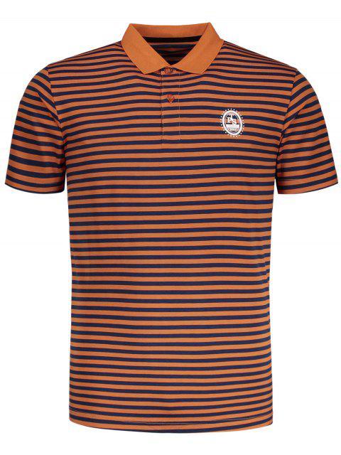 Camiseta de polo a rayas de manga corta - Naranja 2XL Mobile