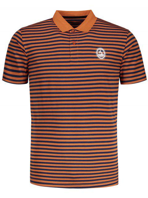 Kurzes Hülsen-gestreiftes Polo-T-Shirt - orange  L Mobile