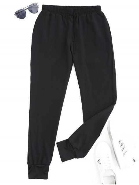 Pantalones deportivos deportivos con cordón - Negro M Mobile