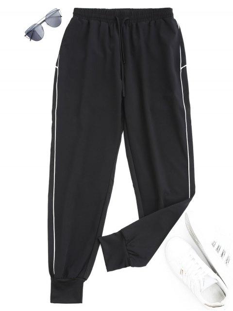 chic Drawstring Sports Jogger Pants - WHITE M Mobile