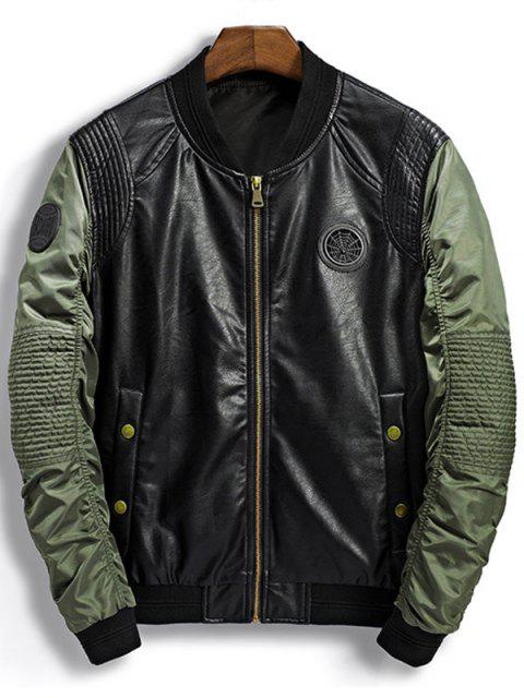 new Patch Design PU Panel Bomber Jacket - GREEN L Mobile