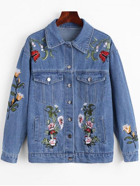 jeansjacke mit taschce und blumen patch blau jacken. Black Bedroom Furniture Sets. Home Design Ideas