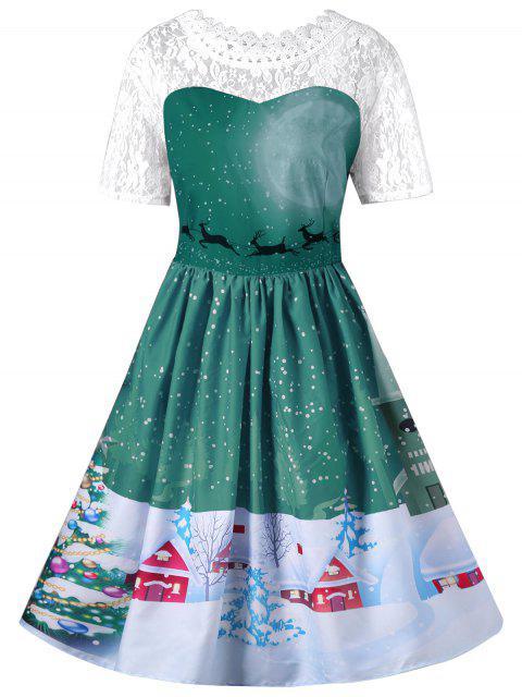 Vestido de oscilación de encaje de Navidad - Verde M Mobile