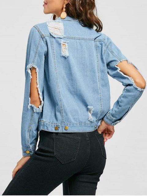 outfit Button Up Distressed Denim Jacket - DENIM BLUE L Mobile