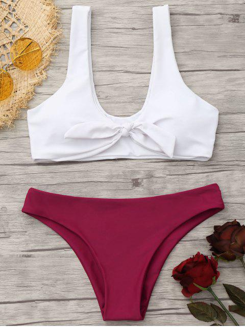 outfit Padded Knotted Bralette Bikini Set - RED AND WHITE S Mobile
