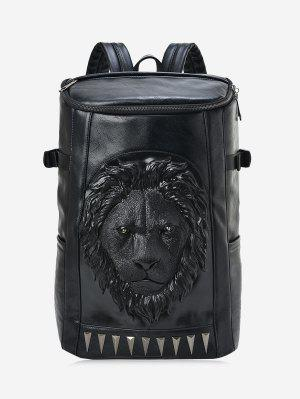 Lion Head Faux Leather Backpack