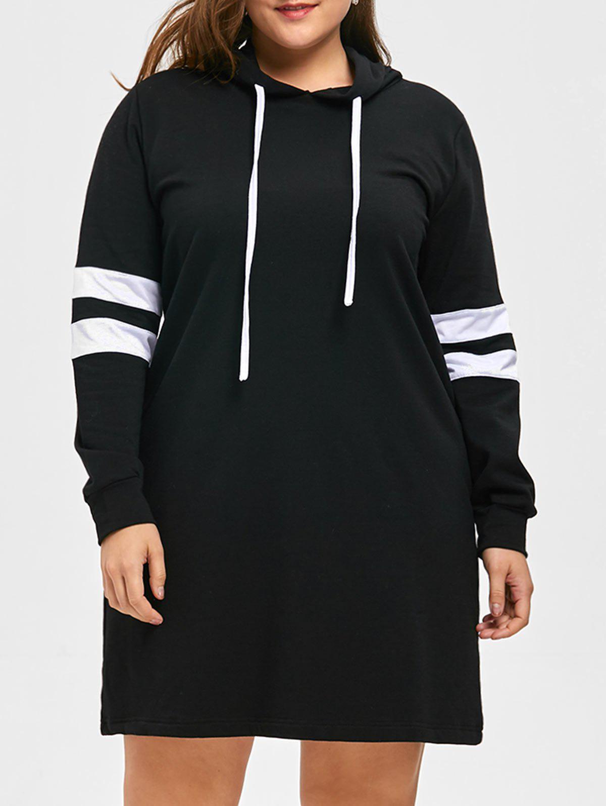 Plus Size Striped Longline Hoodie 229915203