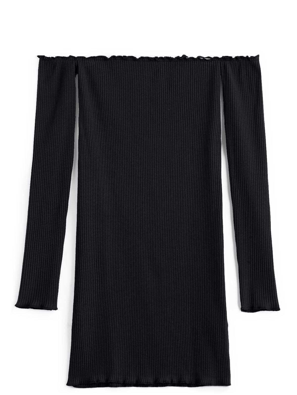 Long Knitted Ruffled Ribbed Top 230489106