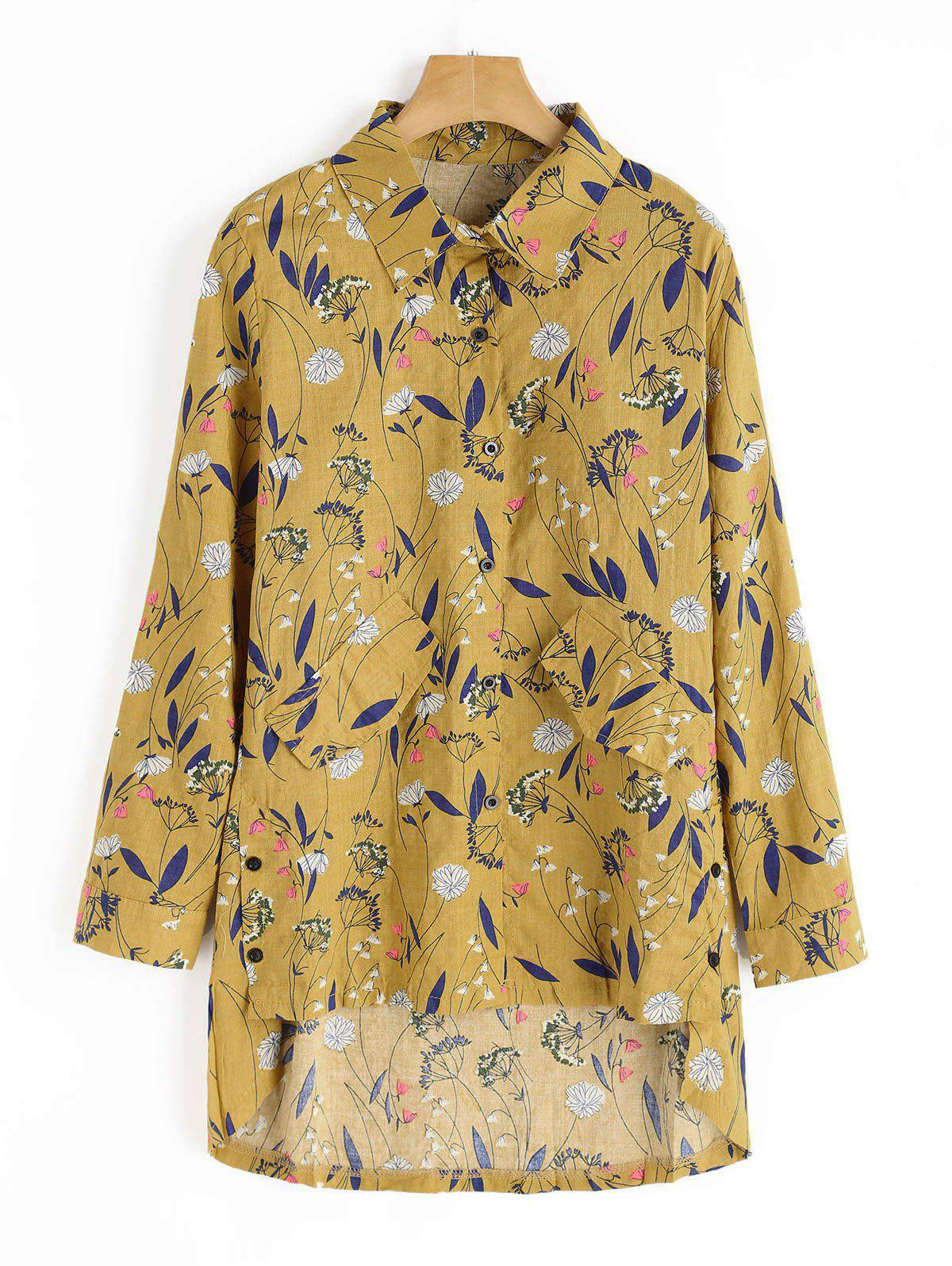 Faux Pockets Floral Print High Low Shirt 230500705