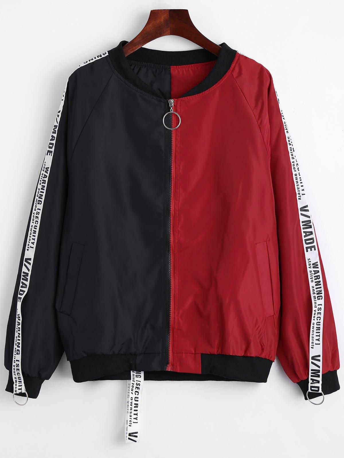 Applique Contrast Bomber Jacket