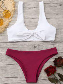 Juego De Bikini Nudoso Acolchado Bralette - Rojo+blanco M