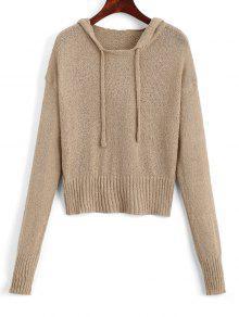 Camisola Com Capuz Com Alça De Canudo Sweater - Caqui
