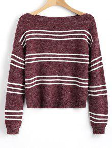 Suéter De Manga Larga Rayas Jersey - Vino Rojo
