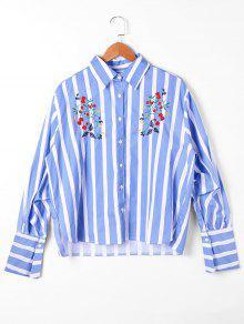 Camisa A Rayas De Bordado - Raya Azul