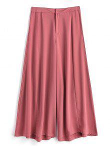 Pantalones De Pierna Ancha Con Cintura Alta - Castaño-rojo M
